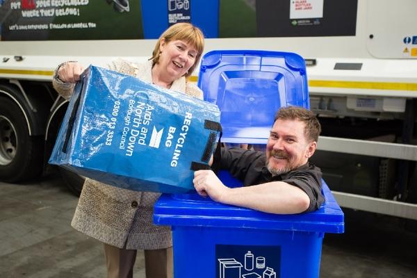 Mayor Girvan with Cllr John Barry in blue bin