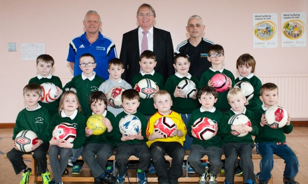 This photograph shows pupils from St Mary's Primary School, Portaferry who attend after schools football coaching