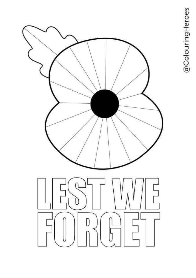 Small image of the downloadable colouring sheet. A large poppy to be coloured in. Below it are the words Lest We Forget