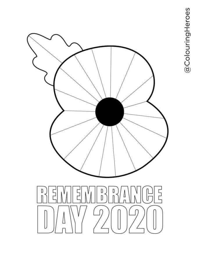 Small image of the downloadable colouring sheet. Features a large poppy to be coloured in. Below the poppy are the words Remembrance Day 2020